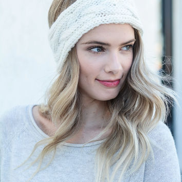 Chunky Knit Headband- Cream
