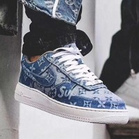 Supreme x Louis Vuitton Nike Air Force 1 Blue Denim Sneakers G