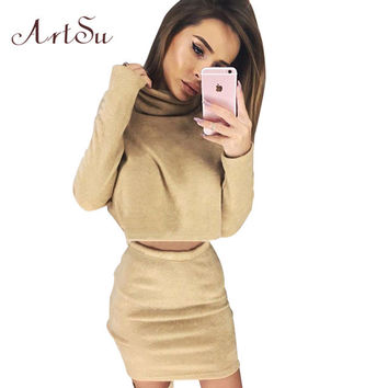 ArtSu 2 piece Knitted Set Women Long Sleeve Short Top And Skirt Sets Autumn Winter Turleneck Suits For Women Clothing ASSU50007