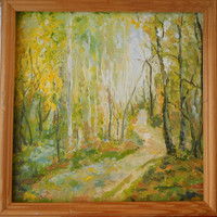 Woodland Original Landscape Path through Forest Oil Painting on Canvas Nature Eclectic Fine Art Interior Wall Kitchen Decor Russian painter