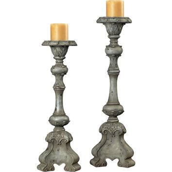 Florintine Carved Candle Holders Alston Grey
