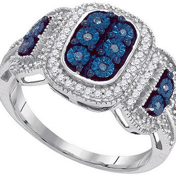 Blue Diamond Micro-pave Ring in 10k White Gold 0.33 ctw