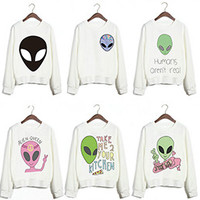 New Design Funny Alien Series Printed Sweatshirts Harajuku Punk Style White Feminine Sudaderas Women Cute Youth Pullovers