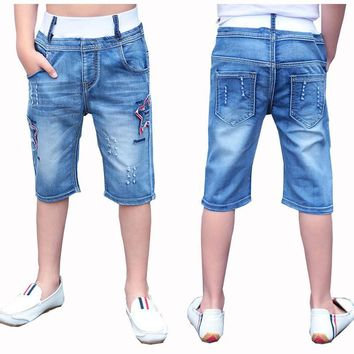 shorts for boys summer 4 6 8 10 12 jeans trousers for children pants kids knee length denim pants for boy short