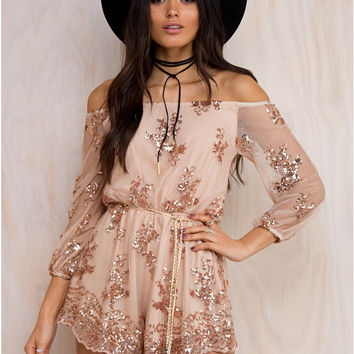 Floral Sequin Embroidery Off-Shoulder Romper