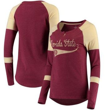 ESBON NCAA Florida State Seminoles Colosseum Women's Routine Raglan Henley Long Sleeve T-Shirt - Garnet