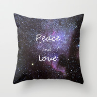Peace and love. Christmas time. Throw Pillow by Guido Montañés