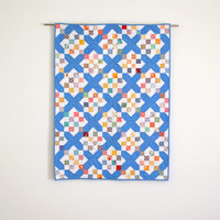 Blue Baby Quilt, Geometric Baby Bedding, Vintage Baby Quilt, Feedsack, Blue, Retro Baby Quilt