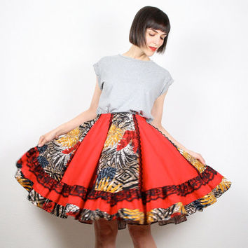 Vintage Midi Skirt Full Sweep Skirt Circle Skirt Red Black Yellow Square Dancing Skirt Lace Saloon Knee Length Dress Skirt S Small M Medium