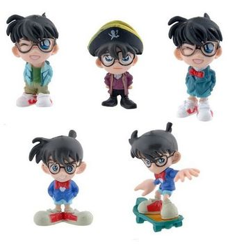 5pcs/set Anime Detective Conan PVC Doll Figure Toy Mini Dolls
