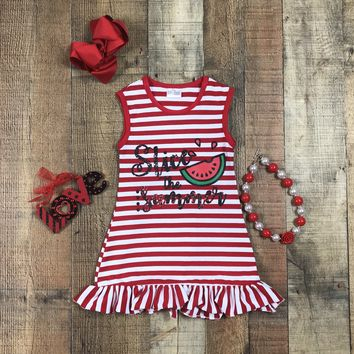 RTS Girls Slice The Summer Red Stripe Tank Dress D-11