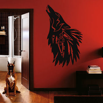 kik304 Wall Decal Sticker Room Decor Wall Art Mural howling black wolf animal forest predator living room children's