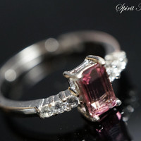 Pink Tourmaline Ring, Promise Ring, Solitaire Ring, Engagement Bands, Sterling S