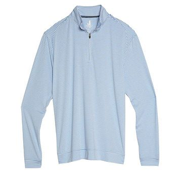Turn Light Weight Striped Prep-Formance 1/4 Zip Pullover in Clearwater by Johnnie-O