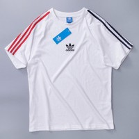 Adidas Summer Fashion New Bust Embroidery Letter Women Men Leaf Top T-Shirt White