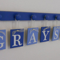 Baby Boy Nursery Decor Hanging Wall Letters Name GRAYSON with 7 Peg Board Blue - Nursery Wall Decor - Home Decor