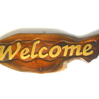 "Handmade Natural teak wood  carving Welcome  Sign Wall Hnging Decor Plaque Hand Carved Custom  signs perfect for coffee shop 16.5""X6"""