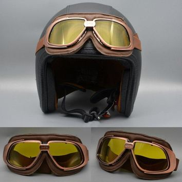 Aviator Goggles, Brown Motorcycle Pilot Glasses, Goggles For Harley, Cruiser Scooter Biker