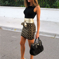 Black Sleeveless Printed Mini Bodycon Dress