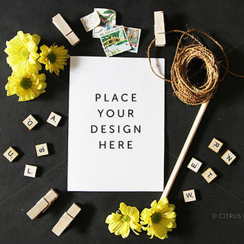 Styled Stock Photography - Product Presentation - Design Mock Up -  Yellow Daisies and Blank Portrait Card on a Chalkboard Background