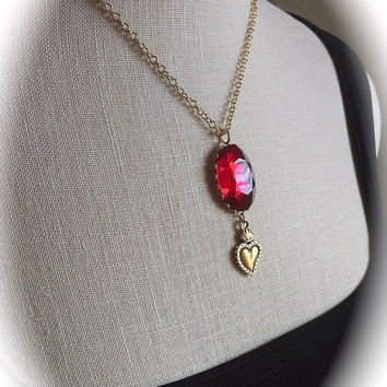 Gold Sacred Heart Necklace Ruby Red Crystal Pendant, Ex Voto Heart, Religious, Milagros Rosary Style Jewelry, Bridesmaid Gift