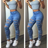 Women Lady Fashion Denim Skinny Ripped Pants High Waist Hole Stretch Jeans Slim Pencil Trousers Women 2016