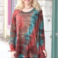 Loose Fit Tie Dye Knit {Rust Mix}