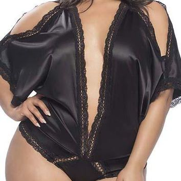 Sexy Plus Size Draped Satin Plunge Teddy with Lace and Open Shoulders