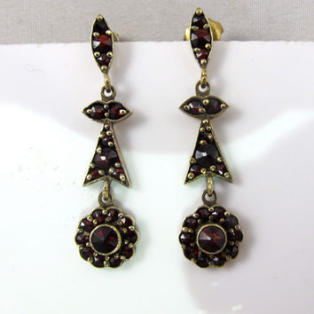 Victorian Bohemian Garnet Earrings, Rose Cut Czech Bohemian Garnets, 1900s Antique Garnet Jewelry Jewellery, Garnet Pierced Dangle Earrings