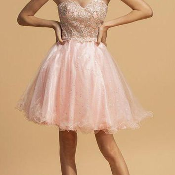 Blush Strapless Homecoming Short Dress with Sweetheart Neckline