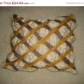 SALE Silk pillow cushion cover nuno felt wool decorative brown yellow cream color
