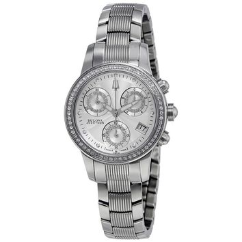 Bulova Accutron Masella Chronograph Silver Dial Ladies Watch 63R136