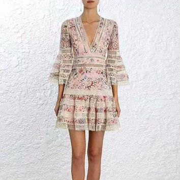 Print Mini  V Neck Hollow Out Flare Sleeve Tunic Mini Dress