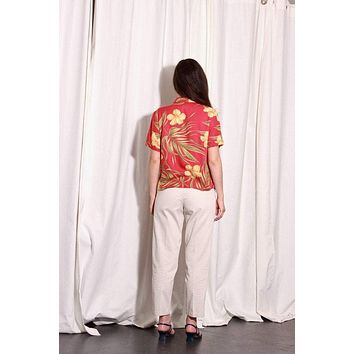 Red Tropical Hibiscus Pattern Button Up Shirt / S