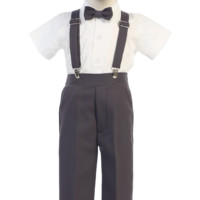 Boys Charcoal Grey Short Sleeve Suspender Pant Set with Hat 6M-7