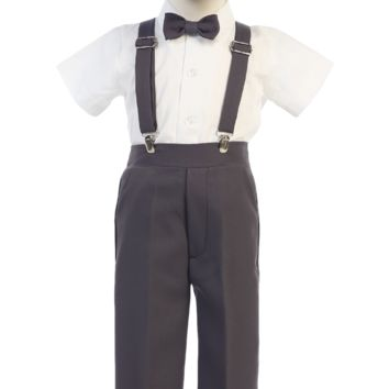 (Sale) Size 6 Boys Charcoal Grey Short Sleeve Suspender Pant Set with Hat