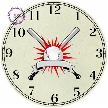 """Baseball Sports - Bats and Ball Art - -DIY Digital Collage - 12.5"""" DIA for 12"""" Clock Face Art - Crafts Projects"""