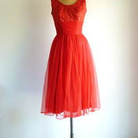 50s Dress Red Party Prom Dress Lace Chiffon Scarf Train Vintage 1950s Dress M