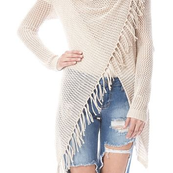 Carys Open Weave Crochet Fringe Sweater (Cream)