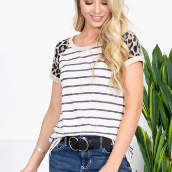 Leopard Sleeve Striped Hi-Low Top