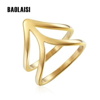 BAOLAISI Engagement Ring Gold Color Geometric Cone Rings Fashion Jewelry Vintage Europe Design Wedding Brands Rings For Female
