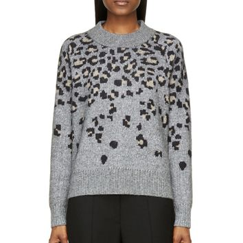 Rag And Bone Grey Mlange Leopard Print Isadora Sweater