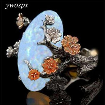 White Fire Opal Flower Rings For Woman