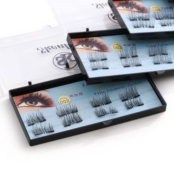 1 Set Soft  3D Silk Fiber Magnetic False Eyelashes No Glue Required Double Magnet Lashes Handmade Thick Long Extension Tools