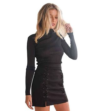 Womail Solid A-Line Skirt Women Bandage Suede Fabric Mini Skirt Slim Seamless Stretch Tight Short Skirt Drop Shipping