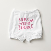 You Are Loved Pink Typography Diaper Cover