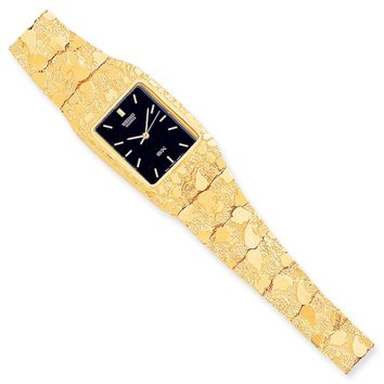 10k Yellow Gold Black 27x47mm Dial Square Face Nugget Watch