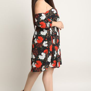 Floral Off-The-Shoulder Keyhole Shift Dress