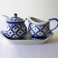 Ceramic CREAM & SUGAR SET Hand Painted by Artisans  2 Containers + 1 Lid + 1 Spoon + Base Tray ~ Asian Imported New ~ Ships from U.S.A.