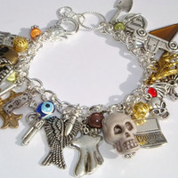 Supernatural Charm Bracelet - Statement Bracelet - Loaded - Sam & Dean - The Winchesters - TV Show Themed - Super Natural Inspired